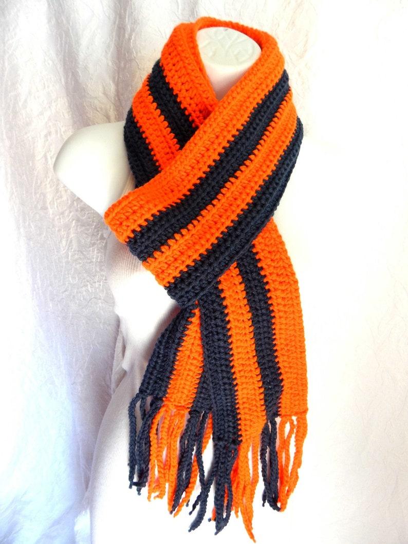 Orange and Black Scarf with Fringe  Long and Warm  Halloween image 0