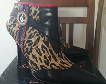 4e0bed69611 Fab Baby Phat leather leopard satin high heel ankle boots. Size US 10 EU 40  Chic