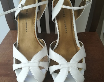e592de7536 Chinese Laundry white leather and cork wedge sandals. Size US 10 EU 40.5/41