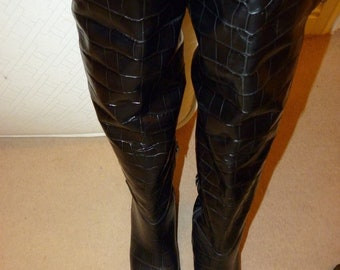 ac01138fe1e93 Rare Jimmy Choos Beatrix Ong croc thigh high boots New UK8 EU 41