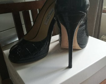 8d6249478566 Fab Jimmy Choo black leather croc embossed open toe pumps