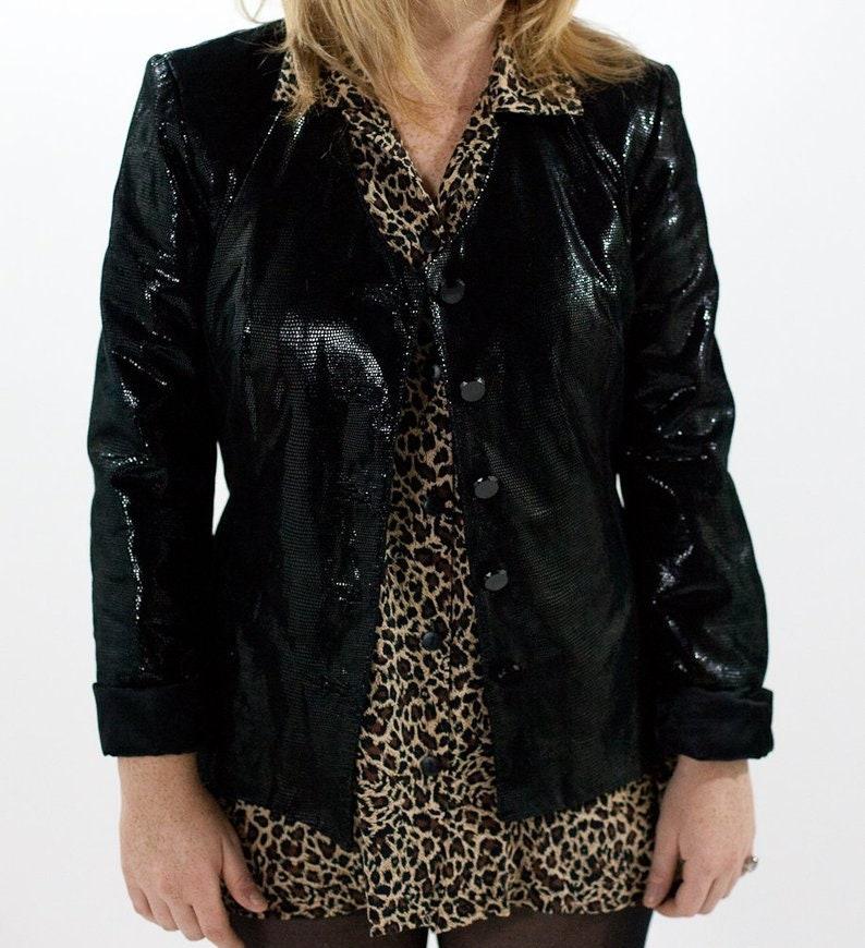 Danier Black Leather Blazer Disco Sz Medium. Vintage