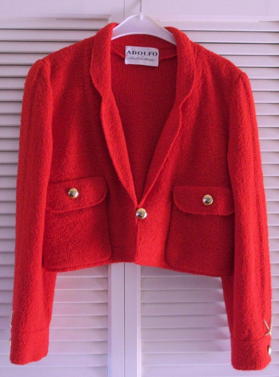 Vintage Red Adolfo Wool Knit Skirt Suit