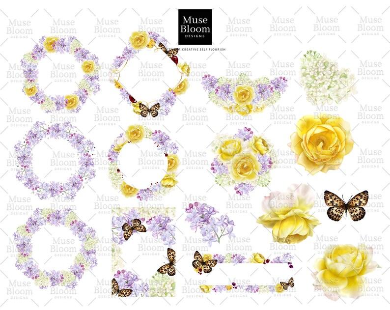 Lilas Butteflies Floral Floral Wreath Clipart Digital Borders Bouquet for Logo Branding Watercolor Wedding Invitation Clipart