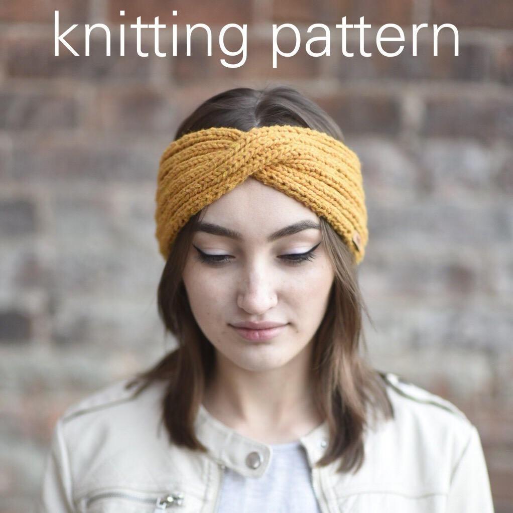 Knitting Pattern Twisted Turban Headwrap // Mustard Yellow