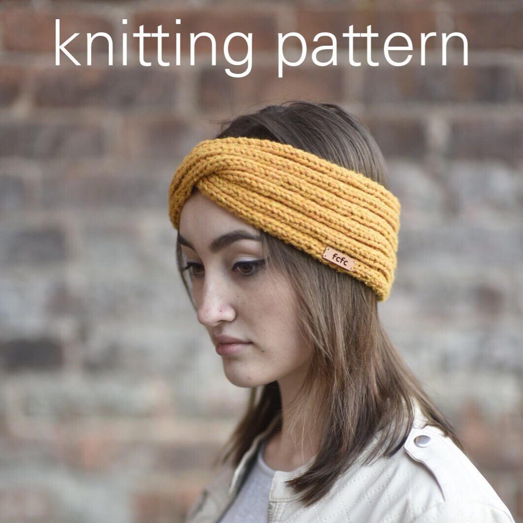 Knitting Pattern - Twisted Turban Headwrap // Mustard Yellow Knit ...