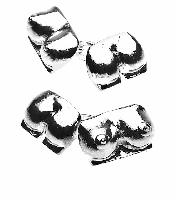 Men/'s Christopher Simpson Silver Plated Boobs /& Bum Cufflinks