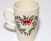 Vintage Lenox Mixed-Matched Mugs, Winter Greetings, Winter Song, Holiday Holly Wreath, and Pine Cone, Excellent Condition