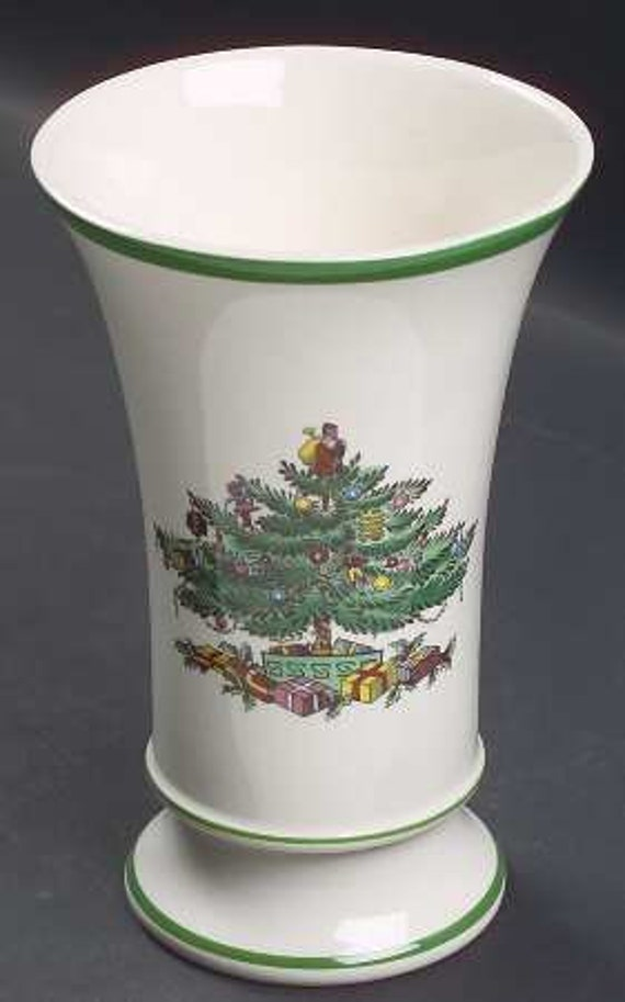 Vintage Spode Christmas Tree Mug Vase Cups And Potpourri Pot Made In England Circa 1938