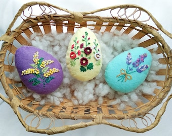 Felt Botanical Easter Eggs, Easter Ornament, personalized felt toy, beaded, embroidery, mimosa lavender hollyhocks, Set of 3, Made to Order