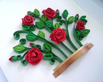 Red roses bush quilling paper art, Quilling shadow box, Wall art, Rose bush, Quilling flowers, Red roses, Framed Gift, 3D art