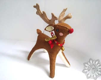 Rudolph the Red Nosed Reindeer Felt Christmas Ornament, Santa's Reindeer, felt animal, felt toy, woodland animals, animal, Made To Order