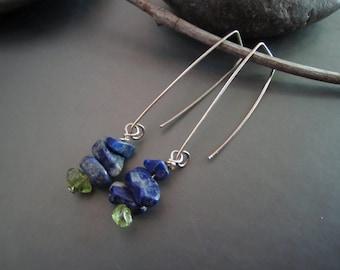 Lapis Lazuli and Peridot Gemstone Earrings