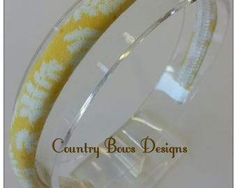 Yellow and Off  White Leaf Headband- Padded Headband-Woma/Teen/Big Girl Headband