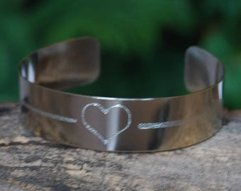 A shot through my Heart Cuff, Valentine Bracelet, Heart Bracelet, Heart Arrow, Arrow Bracelet, Cherokee Jewelry, Cherokee Copper