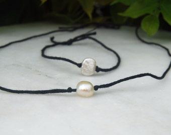 Simple Pearl  Bracelet and Necklace Set Minimal Classic Boho