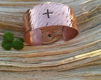 Copper Cross Bracelet - Rain Texture - Copper Cross Cuff