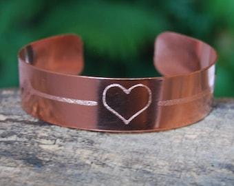 Cherokee Copper Arrow Heart Bracelet, Copper Heart Cuff, Heart Bracelet,  Arrow Bracelet, Cherokee Copper, Authentic Native American