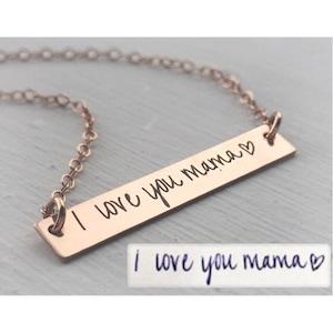 Handwriting Bar Necklace \u2022 Custom Actual Handwriting Jewelry \u2022 Personalized Signature Necklace \u2022 Memorial Keepsake Jewelry \u2022 Mom Gift \u2022 NM23
