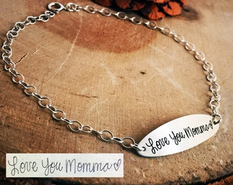 Handwritten Bracelet Jewelry Horizontal Bar Chain Anklet Personalized Your Handwriting or Font Engraved Gift Mom Sister Wife Girlfriend Her