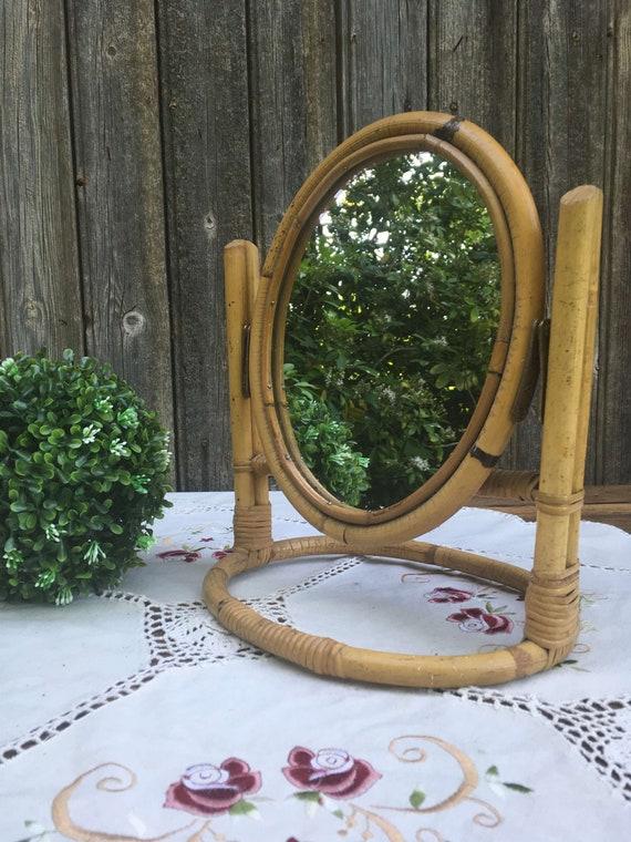 miroir ovale psych poser orientable bambou nature urban. Black Bedroom Furniture Sets. Home Design Ideas