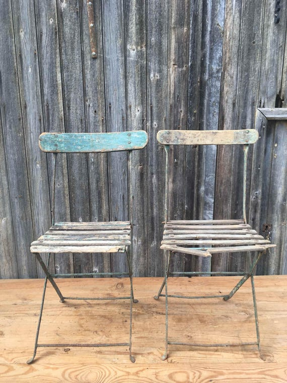 French Vintage Folding Garden Chairs Wood And Metal Green Etsy