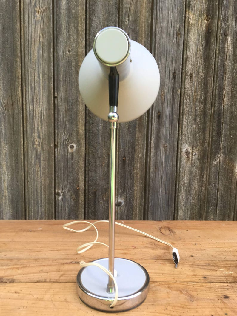Chromed Articulated Arm Circa 1960 Desk lamp Pure Vintage Table Lamp Designed and Made in Italy Industrial Chic