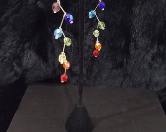 Handmade-Chakra 7 colors-Healing Jewelry-Rainbow Earrings-Crystal-Sterling Silver