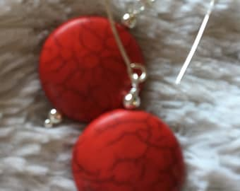 Ruby or turquoise 100% Coral one of the kind earring.