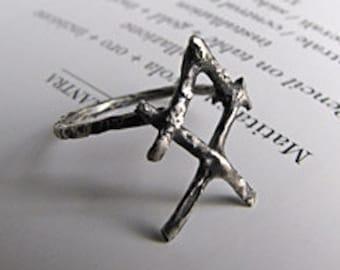 OTHALA ring - Othala rune - Viking rune ring - Norse, occult, esoteric jewelry - HANDMADE. Made in Italy.