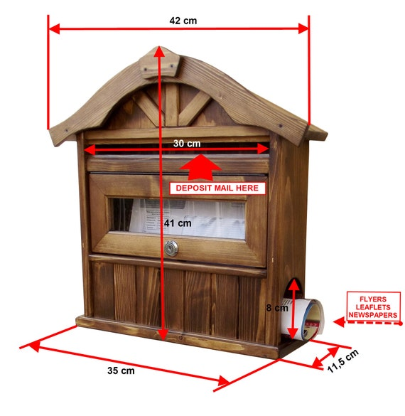 Handcrafted Mailbox modern design Dark Walnut Color Handmade Wooden Mailbox Letter box