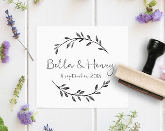 Custom Wreath Stamp- Calligraphy Names Stamp - Script Wedding Stamp- Wedding Favor Stamp - Custom Rubber Stamp- Laurel Wreath Rubber Stamp