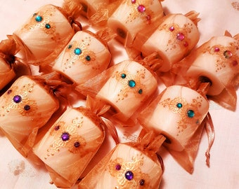 Set of 10 or 12 Glamorous Henna Candles with Jewel Tone Gemstones. One of our Best Sellers!