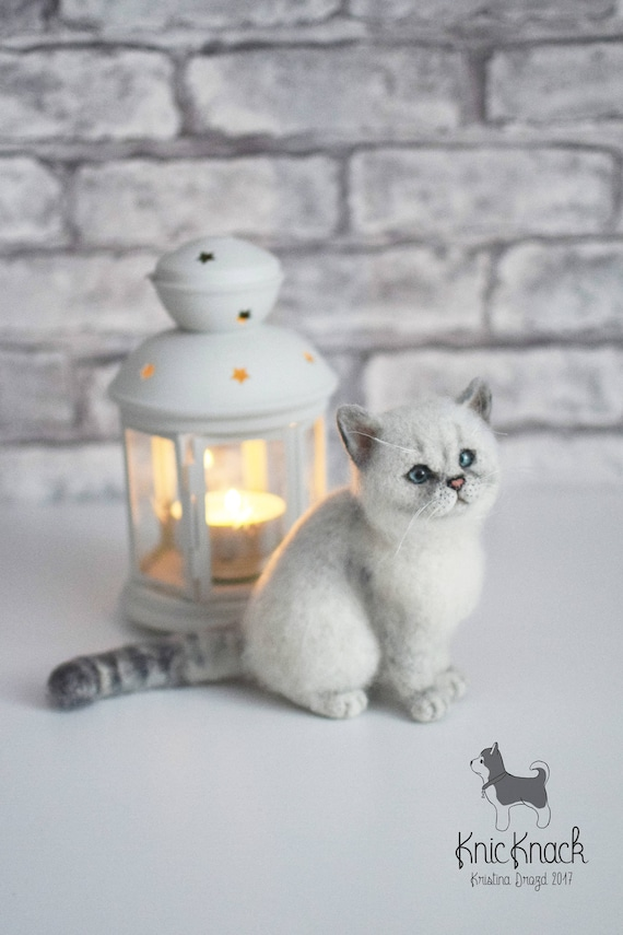 Needle Felted British Silver Shorthair Cat Toy Sold Custom To Etsy