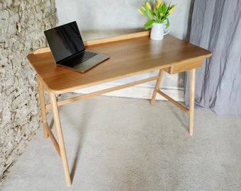 Daly Solid Oak Bespoke Mid-Century Style Desk with Stationery Drawer.  Custom Made to Order Furniture by www.urbangrain.co.uk