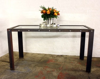 Bloom Industrial Toughened Glass Top Bar or Dining Table with Angle Iron Frame and Legs - made to measure furniture by www.urbangrain.co.uk