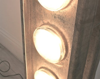 Jon Urban Industrial Galvanised Steel Floor Standing Light with Five Car Headlamps - Upcycled, Recycled Industrial Lighting Commissions