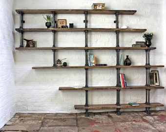 Emilie Asymmetric Reclaimed Scaffolding Boards and Dark Steel Pipe Shelves/Bookcase - Bespoke Urban Shelving System by www.urbangrain.co.uk