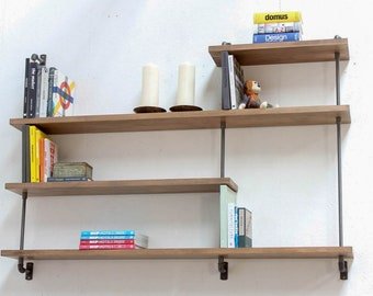 Barnaby Bespoke Adjustable Walnut Washed Solid Beech Shelves with Slim Dark Threaded Steel Pipe and Contemporary Collar Supports