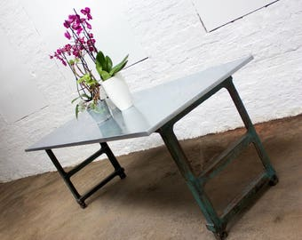 Saunders Industrial Zinc Topped Table with vintage reclaimed metal workers workbench legs - made to measure furniture www.urbangrain.co.uk