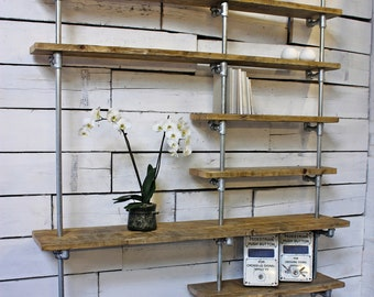 Yuka Reclaimed Scaffolding Boards and Galvanised Steel Pipe Wall Mounted and Floor Standing Industrial Bookcase - Bespoke Urban Furniture