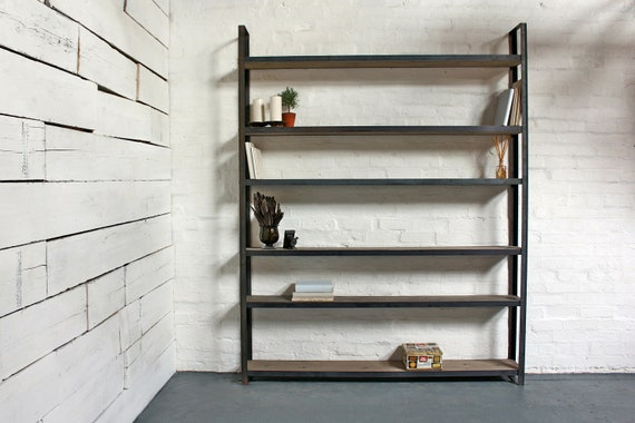 Ralph Bespoke Reclaimed Scaffolding Boards and Welded Dark Steel Box Section Framed Free Standing Shelves with Locking Drawer and Castors