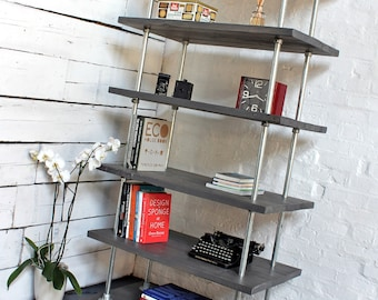 Dante Reclaimed Grey-washed Scaffolding Boards and Galvanised Steel Pipe Shelves/Bookcase - Bespoke Industrial Urban Storage Shelving System