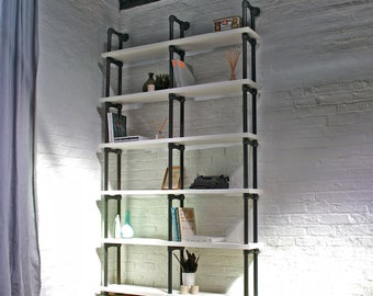 Sean Reclaimed White Painted Scaffolding Boards and Distressed Dark Steel Pipe Bookcase - Urban Storage, Bespoke Industrial Shelving System