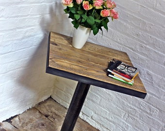 Artus Pedestal Reclaimed Wood Bistro Table with Dark Steel Angle Iron Frame and Distressed Pipe and Heavy Pedestal Base by urbangrain.co.uk