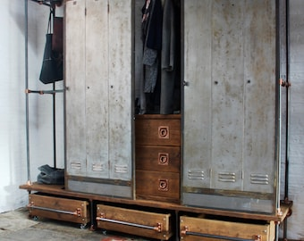 David Chestnut Stained Reclaimed Scaffolding Board, Dark Steel Pipe and Copper Fittings Open Wardrobe/Closet, Vintage Locker Sliding Doors