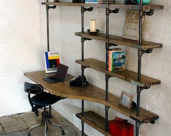 Brooks Reclaimed Scaffolding Board Curved Desk and Shelf Unit utilising Dark Steel Pipe Supports - Bespoke Furniture by www.urbangrain.co.uk