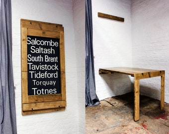 Holdsworth Industrial Style Reclaimed Wood Picture Frame which converts into a Drop Down Dining Table for space challenged apartments