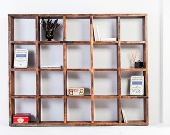 Bazany Reclaimed Chestnut Stained Scaffolding Board 20 Aperture Display Cube Fixture - Urban Storage, Bespoke Industrial Shelving