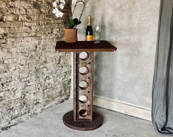 Dino Reclaimed Manhole Bar Table with a Heavy Steel Pedestal Base - bespoke industrial furniture by www.urbangrain.co.uk